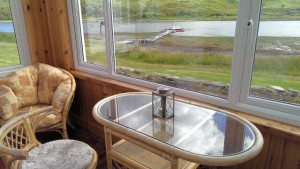 Carna cottage conservatory on the shores of Loch Sunart